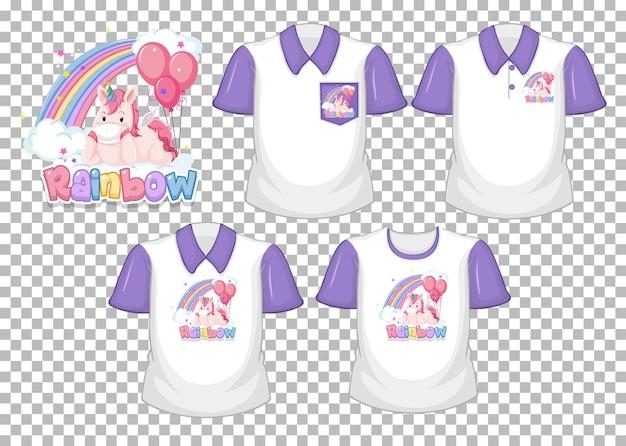 Unicornio con logo de arco iris y conjunto de camisa blanca con mangas cortas moradas aislado sobre fondo transparente