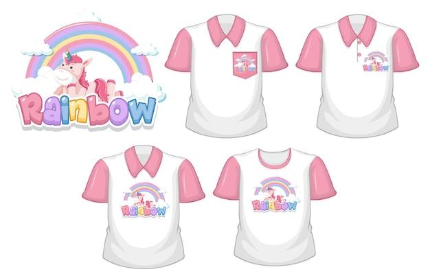 Unicornio con logo de arco iris y conjunto de camisa blanca con mangas cortas rosa aislado sobre fondo blanco.
