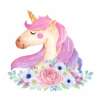 Unicornio mágico con flores aisladas en fondo blanco. linda acuarela unicornio ilustración.