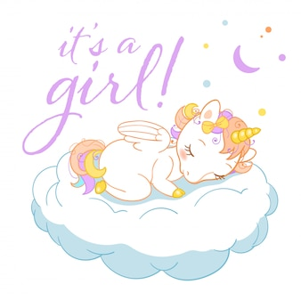 Unicornio mágico lindo en estilo de dibujos animados con insignias caligráficas es una niña. doodle unicornio durmiendo en una nube.