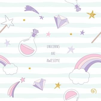 Unicornio mágico patrón transparente con arco iris, estrellas y diamantes.