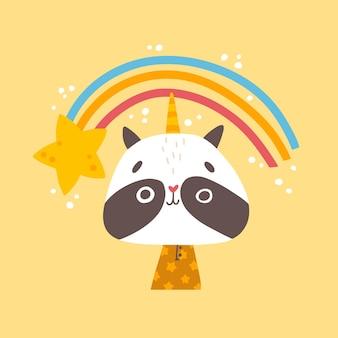 Unicornio mapache con arcoiris y estrella.