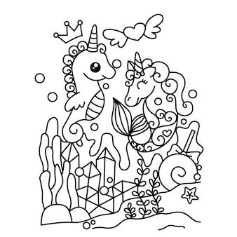 Unicornio en mar doodle ilustración