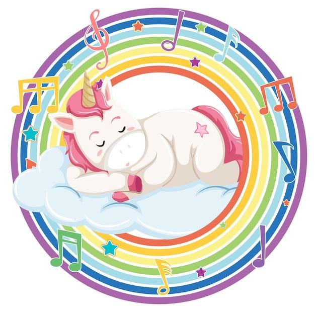 Unicornio en marco redondo arco iris con símbolo de melodía