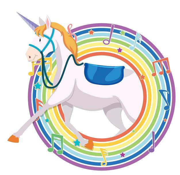 Unicornio en marco redondo arcoiris