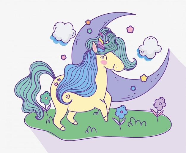 Unicornio media luna nubes prado flores fantasía mágica caricatura ilustración vectorial