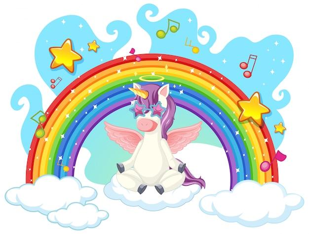 Unicornio medita en el cielo