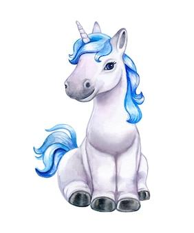 Unicornio con una melena azul aislado en un fondo blanco acuarela