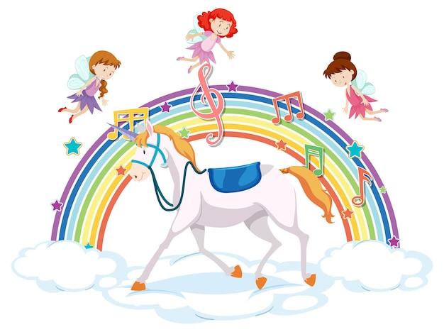 Unicornio y muchas hadas en la nube con arcoiris.