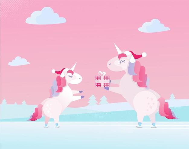 Unicornio navideño con gorro de papá noel regala en caja festiva a un pequeño niño unicornio