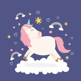 Unicornio en la nube arcoíris estrellas corazones fantasía mágica dibujos animados animal lindo