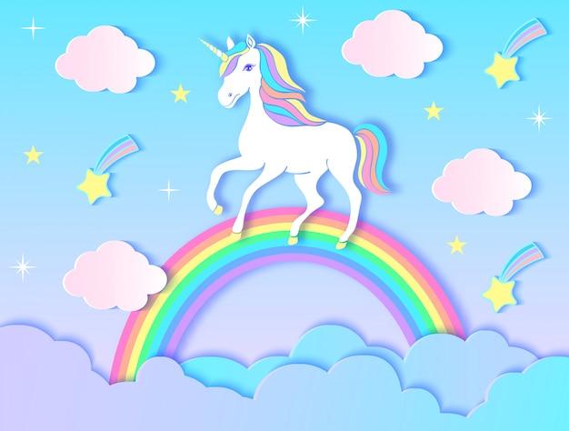 Unicornio, nubes, arco iris y estrellas de papel en el fondo violeta de la pendiente. ilustracion vectorial