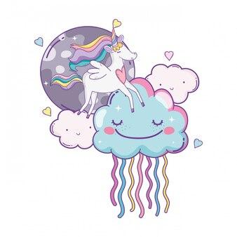 Unicornio en nubes lindas caricaturas
