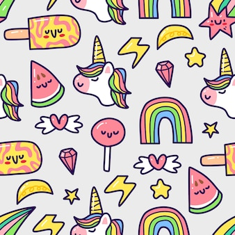 Unicornio en patrones sin fisuras de estilo doodle