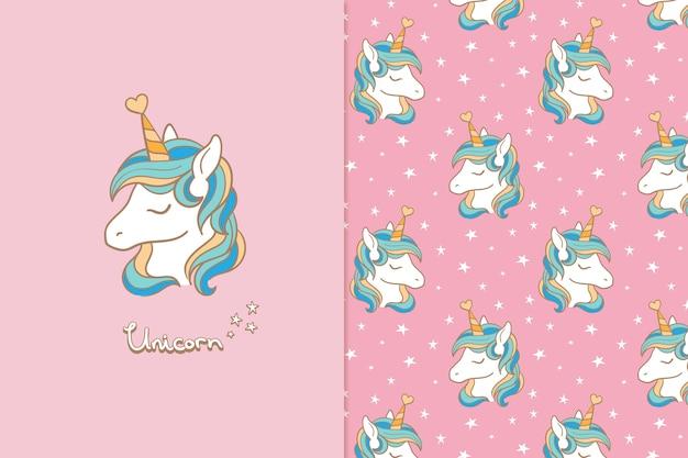 Unicornio de patrones sin fisuras tarjeta de felicitación