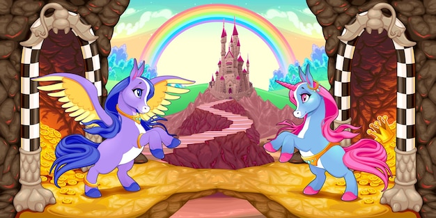 Unicornio y pegaso cerca del tesoro. ilustración de dibujos animados de vector