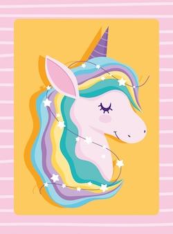 Unicornio con pelo arcoiris y estrellas