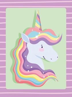 Unicornio con pelo arcoiris