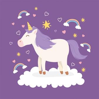Unicornio pelo morado sobre nube arcoiris decoración fantasía mágica dibujos animados animal lindo