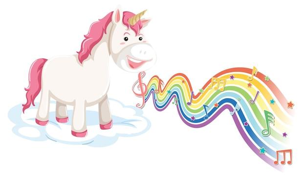 Unicornio de pie en la nube con símbolos de melodía en la onda del arco iris