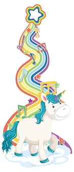 Unicornio de pie sobre la nube con arco iris sobre fondo blanco.