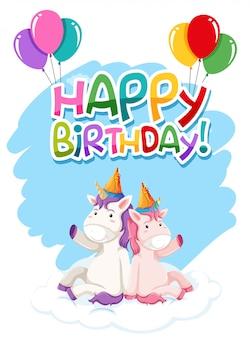 Unicornio en plantilla de cumpleaños