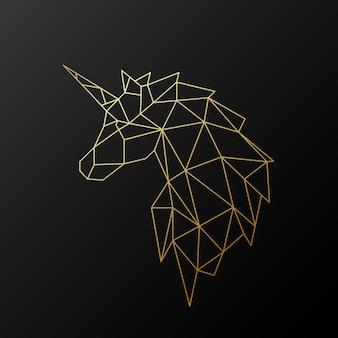 Unicornio poligonal dorado.