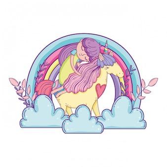 Unicornio y princesa con arcoiris en las nubes.