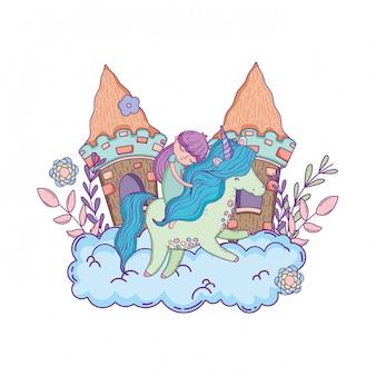 Unicornio y princesa con castillo en las nubes.
