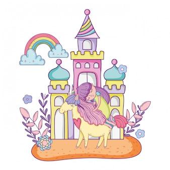 Unicornio y princesa con castillo en el paisaje.