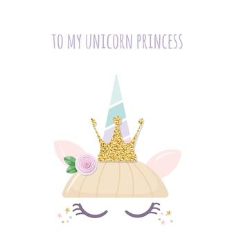 Unicornio princesa lindo personaje catroon.