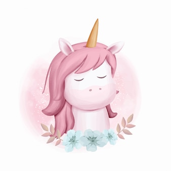 Unicornio retrato bebé acuarela ilustración
