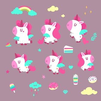 Unicornio rosa en el cielo
