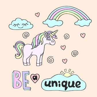 Unicornio rosa con cuerno amarillo y arco iris con letras be a unique sobre fondo rosa