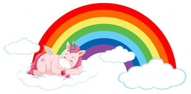 Unicornio rosa en la nube