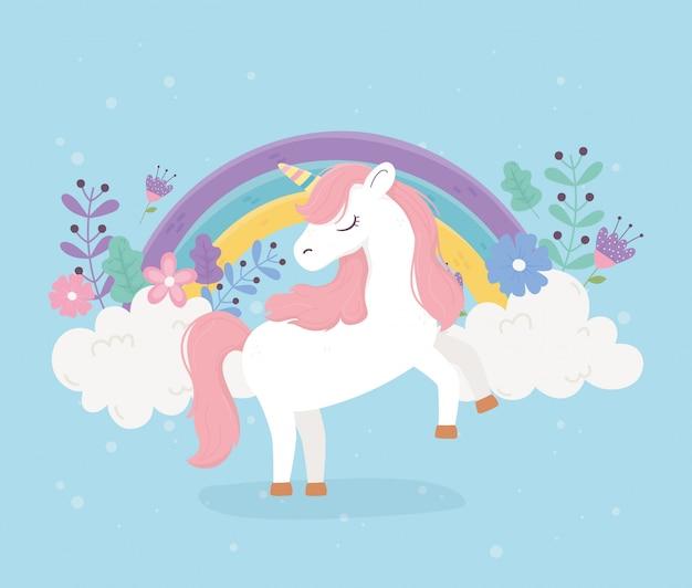 Unicornio rosa pelo flores arco iris fantasía magia sueño lindo dibujos animados fondo azul ilustración