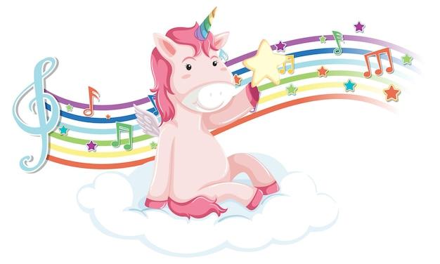 Unicornio rosa de pie en la nube con símbolos de melodía en arco iris