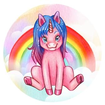 Unicornio rosado lindo de la acuarela que se sienta con el arco iris y las nubes