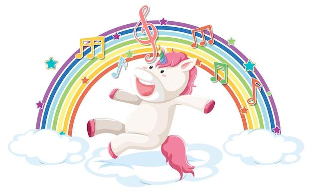 Unicornio saltando sobre la nube con arco iris y símbolo de melodía