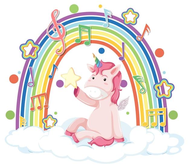 Unicornio sentado en la nube con arco iris y símbolo de melodía