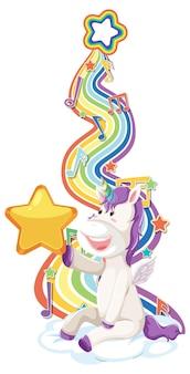 Unicornio sentado en la nube con arco iris sobre fondo blanco.