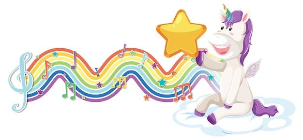 Unicornio sentado en la nube con símbolos de melodía en la onda del arco iris