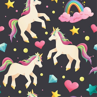 Unicornio sobre fondo oscuro de patrones sin fisuras con arco iris, nubes, cristales y estrellas.