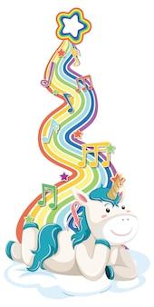 Unicornio tendido en la nube con arco iris sobre fondo blanco.