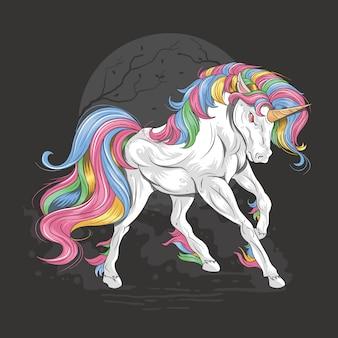 Unicornio a todo color arcoiris majestuoso