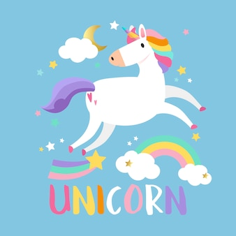 Unicornio con vector de elementos mágicos.