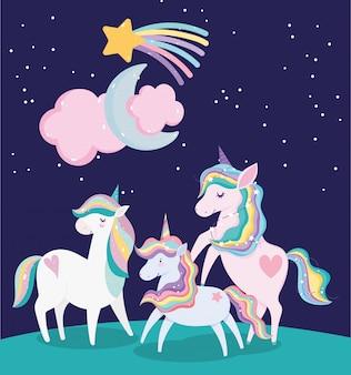 Unicornios adorables estrellas fugaces luna y dibujos animados de nubes