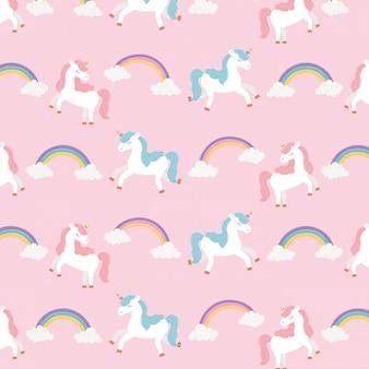 Unicornios y arcoiris fantasía mágica sueño lindo dibujos animados decoración fondo ilustración
