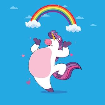 Unicornios bailan con arco iris