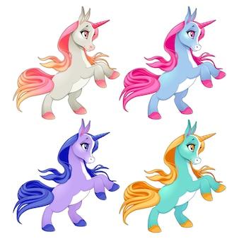 Unicornios bebé en dos patas. personajes de dibujos animados vector aislado.